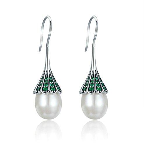- Rakumi Pearl Dangle Earrings Sterling Silver Oval White Freshwater Pearl Dangle Earrings Dotted with Green Zircons
