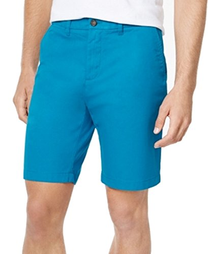 Tommy Hilfiger Mens Classic Fit Flat Front Khaki, Chino Shorts Blue 36