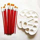 Red Simi 12 Pieces Paint Nylon Brushes Set with 2 Palettes for Watercolor, Acrylic & Oil Paintings