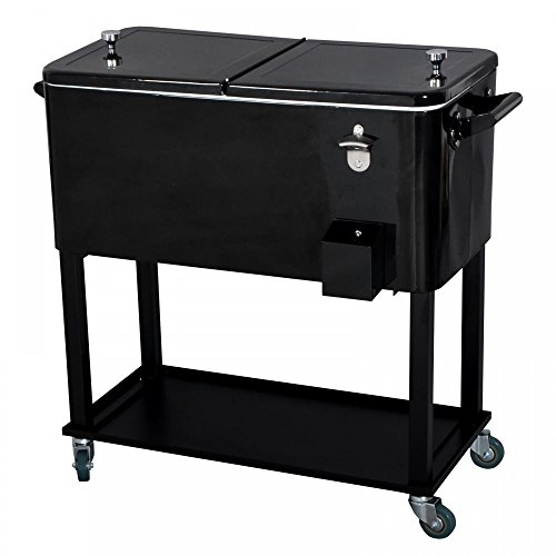 Beer Drainer - FDW New Black 80 Quart Cooler Beer Cart Outdoor Entertaining Rolling Party Stee