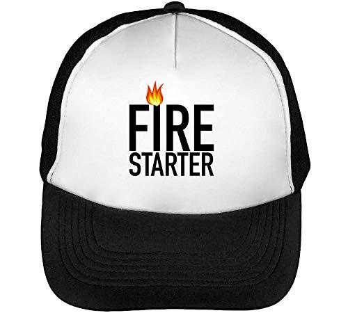 Fire Starter Gorras Hombre Snapback Beisbol Negro Blanco