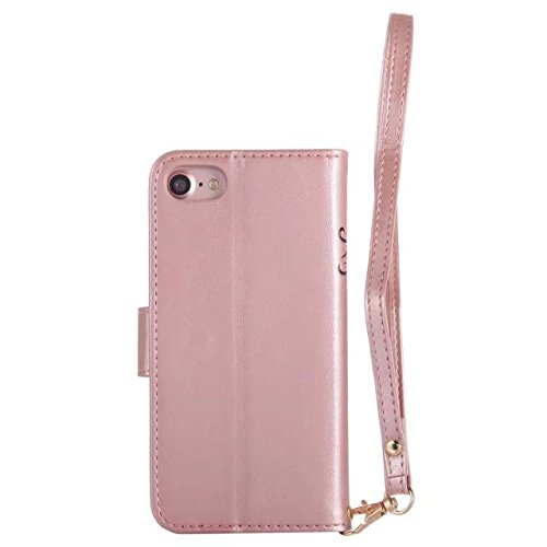 Hülle für iPhone 7 ,Schutzhülle Für IPhone 7, Leder Folio Flip Stand Brieftasche Beutel Case Cover ,cover für apple iPhone 7,case for iphone 7 ( Color : Rose-gold )
