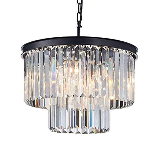 Saint Mossi Modern K9 Crystal Raindrop Chandelier Lighting Flush Mount LED Ceiling Light Fixture Pendant Lamp for Dining Room Bathroom Bedroom Livingroom 6 E12 Bulbs Required H14
