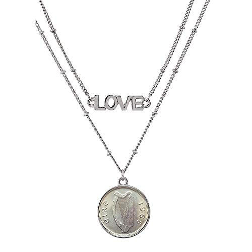 Double Strand Coin - Irish Threepence Coin Pendant Necklace Love - Ireland Three Pence Harp Coin for Collectors | Silvertone Chain |Lobster Claw Clasp | Double Strand 18