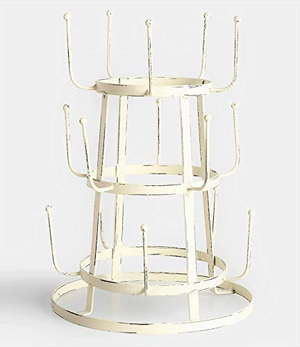 Glory & Grace Rustic Iron French Wine/Beer/Baby Bottle Dryer Tree Glass Cup Drying Rack, French White