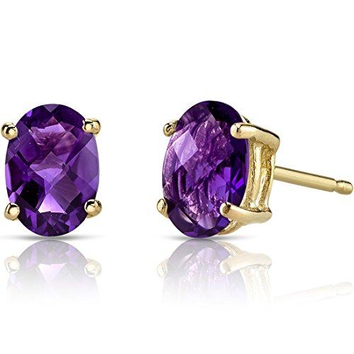 14k Gold Oval Cut Stud - 14K Yellow Gold Oval Shape 1.50 Carats Amethyst Stud Earrings