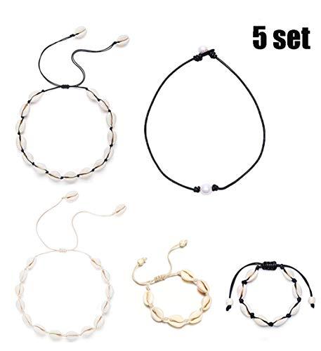 BEAUTEVER 5 PCS Handmade Natural Shell Choker Pearl Necklace Beach Jewelry for Teen Girls Women