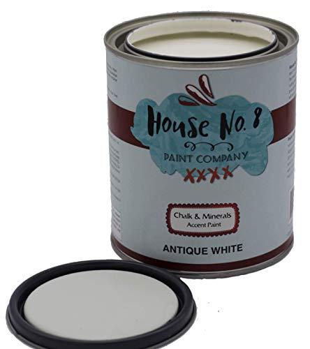 House No.8 Chalk Finish Paint - Chalk Furniture & Cabinet and Accent Paint - Quart (Antique White)