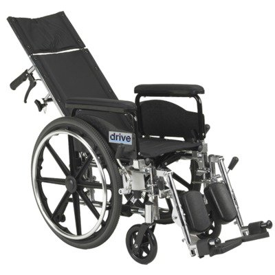 Drive Medical Viper Plus GT Full Reclining Wheelchair, Detachable Full Arms, 18'' Seat