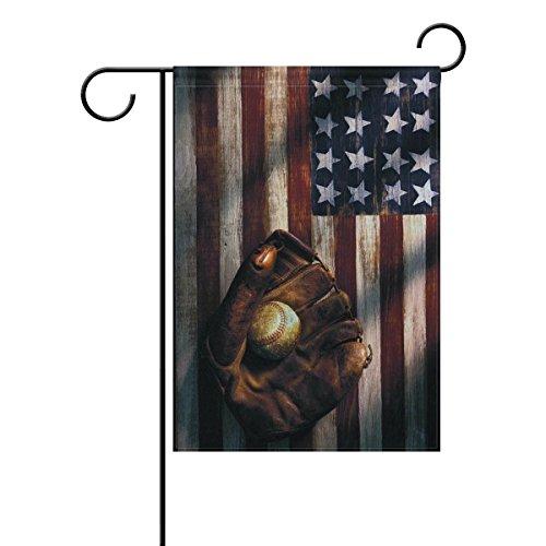 Hopes's American Flag Baseball Garden Flag Polyester Outdoor Flag Home Party 12x18 (Flag Planter)