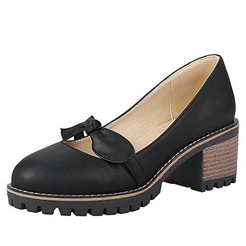 Latasa Bow Shoes Heel Black Women's Chunky Loafers p4gv0