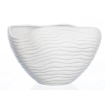 Keramik 30x20cm H Deko Schale Pflanzschale ORGANIC weiß Sandra Rich 20cm