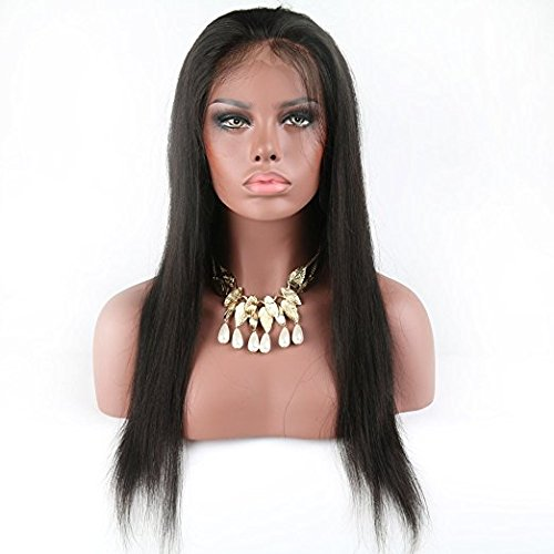 Eayon Hair 6A Virgin Hair Lace Front Wig Brazilian Remy Human Hair Straight Hair Lace Wigs with Baby Hair For African Americans 130% Density Natural Color 22inch by Eayon Hair (Image #2)