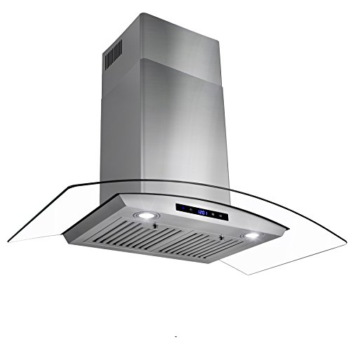 Golden Vantage 36″ Stainless Steel Wall Mount Range Hood with Tempered Glass Touch Panel Kitchen Cooking Fan
