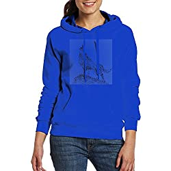 Womens I Just Really Like Wolf Tour Cool Hoodie Sweatshirt Size XL RoyalBlue