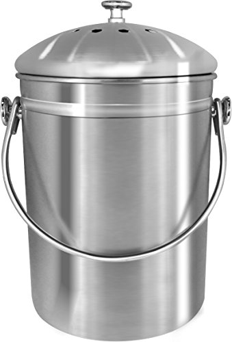 Compost Pail Filters - Premium Quality Stainless Steel Compost Bin 1.3 Gallon, Includes Charcoal Filter
