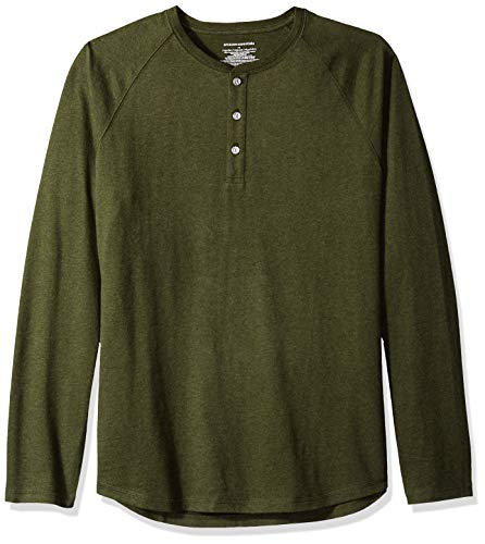 Amazon Essentials Men's Regular-Fit Long-Sleeve Henley Shirt, Olive Heather, XX-Large