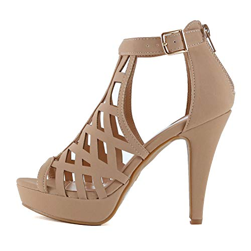 - Guilty Shoes Womens Platform Ankle Strap High Heel - Open Toe Sandal Pump - Formal Party Chunky Dress Heel Sandals (9 M US, Tanv5)