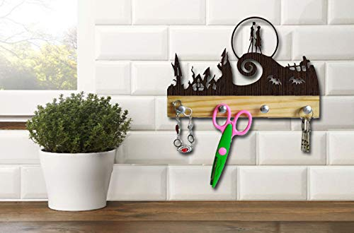 Wood Hanger The Nightmare Before Christmas Jack Skellington and Sally Simply Meant to be Decor Decorations Room Home Gifts for Men Women Kids Wedding Tim Burton Disney (Figure Vinyl Burton Tim)
