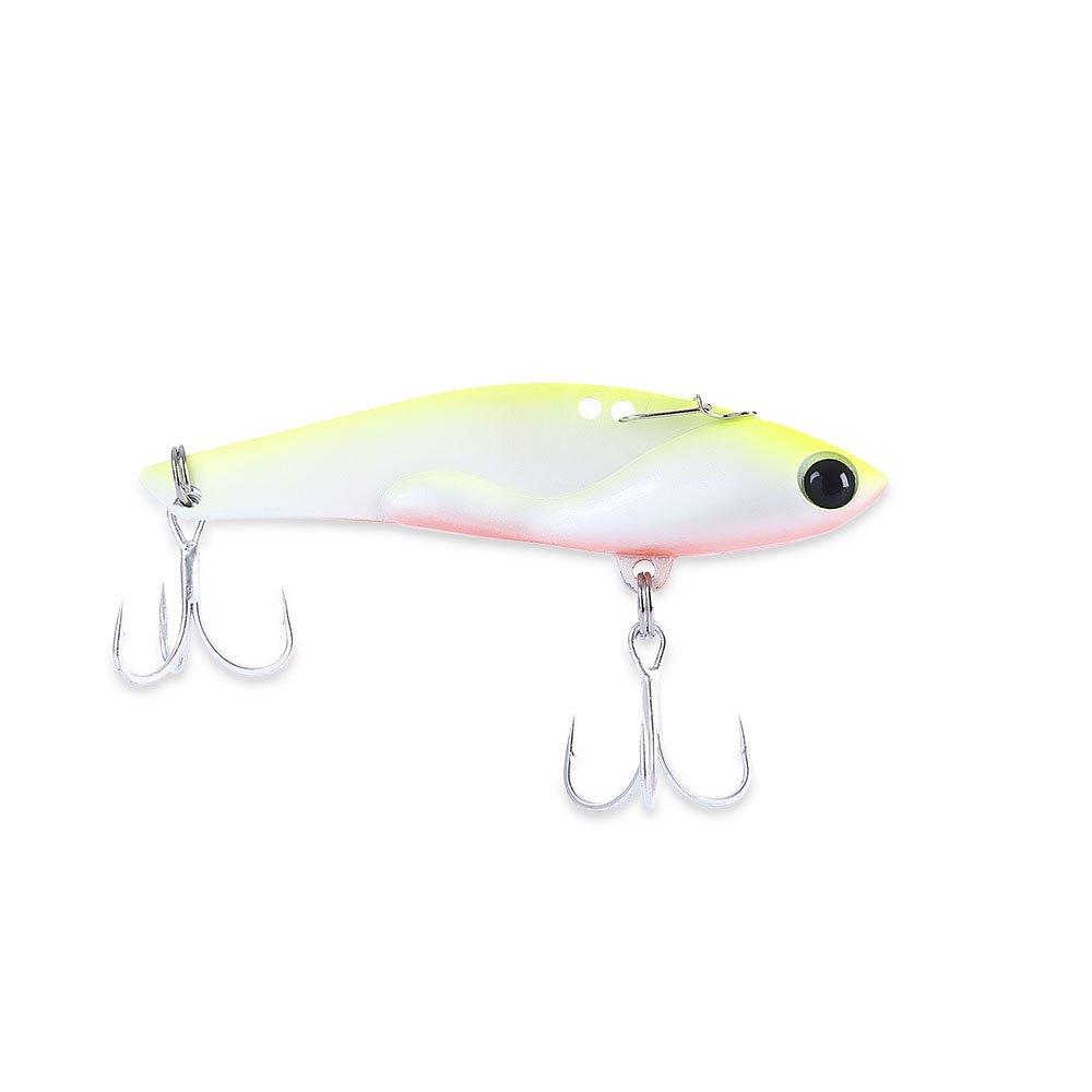Fjiujin,Placa de Hierro Señuelo de Pesca Artificial Pez Metal Bait con Ojos 3D(Color:Amarillo Fluorescente)