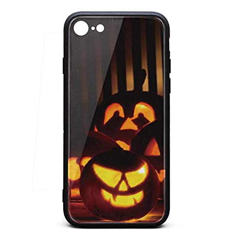 iPhone 6 Case iPhone 6S Case Happy Halloween Pumpkin 2-01 9H Tempered Glass Back Cover Soft TPU Frame Scratch Resistant Shock Absorption Compatible for iPhone 6/6s