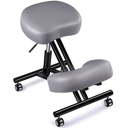 "Adjustable Kneeling Chair, Superjare Ergonomic Working Stool W/ 4"" Cushion for Office Or Home – Ideal for Neck, Spine, Back Problems – Gray For Sale"