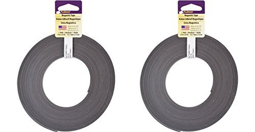 Magnum Magnetics Corp Adhesive Magnetic Strip, 1/2-Inch x 25-Feet (2 Pack) - Strips Magnum