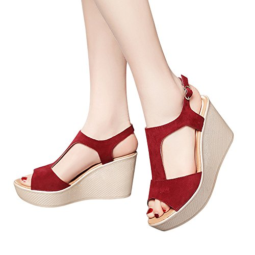Sandals For Womens -Clearance Sale ,Farjing Women Fish Mouth Non-slip Platform Slope High Heels Sandals Buckle Strap (Front Court Clog)