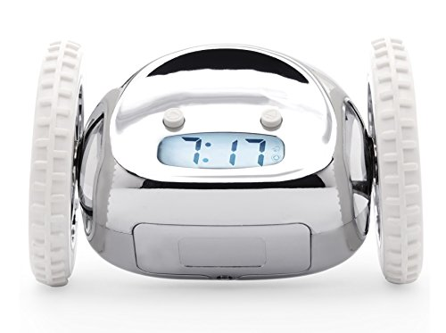 Clocky The Original Alarm Clock On Wheels  Loud R2d2 Beeping Sounds Wake You Up   Fun And Crazy  Jumps And Runs Away  Made For Heavy Sleepers Who Snooze And Cant Wake Up Or Get Out Of Bed   Chrome
