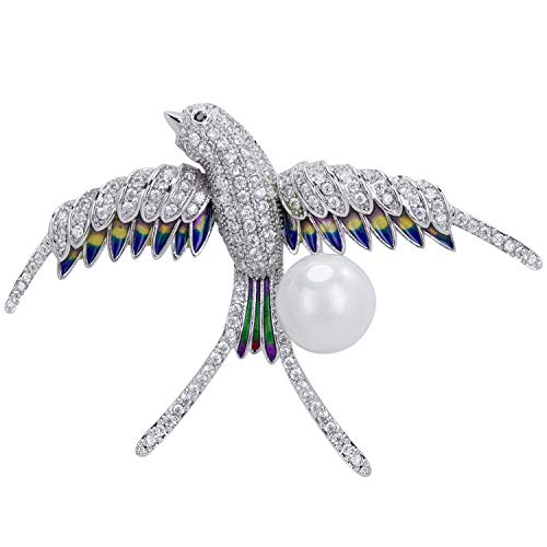 VVANT Pearl Brooches for Women with Sliver Plated,Swallow Zircon Brooch Pins for Moms, Fashion Brooch Gifts for Wedding/Birthday(Swallow Sliver)