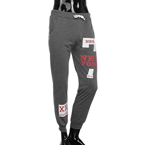 Realdo Men's Casual Trousers, Fashion Pants Letter Print New York Sweatpants(Dark Grey,XXXX-Large) -