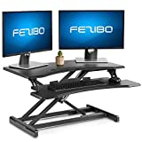 Standing Desk with Height Adjustable – FEZIBO Stand Up Black Desk Converter, Ergonomic Desktop Workstation Riser fits Dual Monitor 32