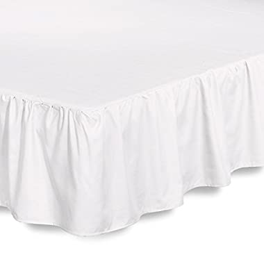 Bed Ruffle Skirt (King, White) Brushed Microfiber Bed Wrap with Platform - Easy Fit Gathered Style 3 Sided Coverage by Utopia Bedding