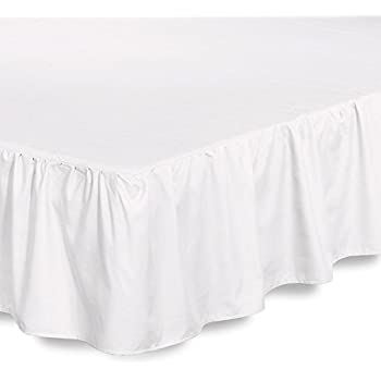 Bed Ruffle Skirt (Queen, White) Brushed Microfiber Bed Wrap with Platform - Easy Fit Gathered Style 3 Sided Coverage by Utopia Bedding