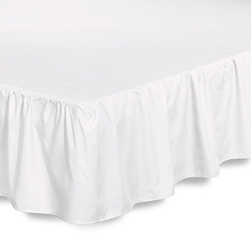 Full Dust Ruffle (Bed Ruffle Skirt (Full, White) Brushed Microfiber Bed Wrap with Platform - Easy Fit Gathered Style 3 Sided Coverage by Utopia Bedding)