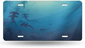 dsdsgog Impact Bumps Sea Animals,Hammerhead Shark School Scan Ocean Dangerous Predator Wild Nature Illustration,Navy Blue 12x6 inches,Official Licensed