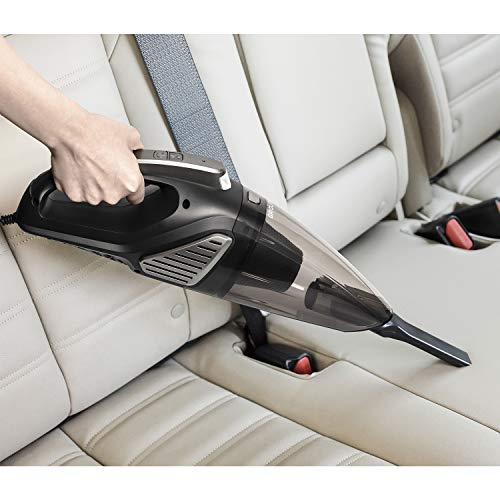 GridLite 5000PA Car Vacuum, DC 12V Wet/Dry Use Handheld Vacuum for Car, 16.4 Long Power Cord Vacuum Cleaner with Nozzle Set, LED Light, 2 HEPA Filters - Carrying Bag