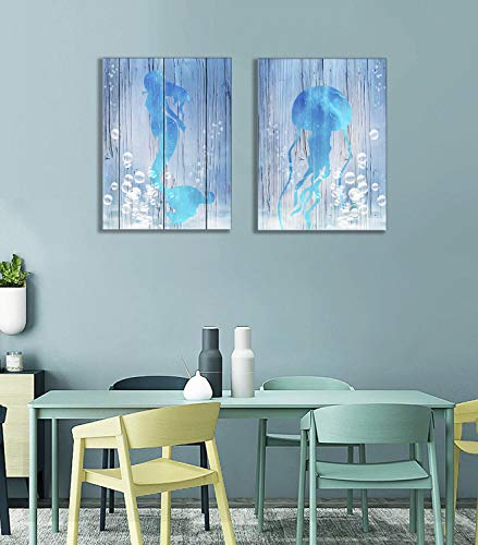 Blue Mermaid and Jellyfish Wall Art Jelly and Sea-Maid Swimming in Deep Water Bubbles Home Decor Sea Animal Canvas Prints Framed Wood Painting 2 Panels Picture Decoration 12×16Inch Living Room Artwork