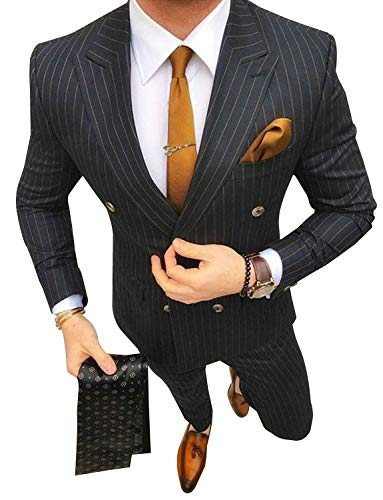 P&G Men's Pinstriped Classic-Fit Gangster 2-Piece Peaked Lapel Suits New Black