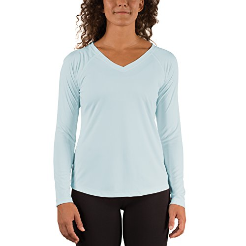 (Vapor Apparel Women's V-Neck UPF 50+ Sun Protection Performance Long Sleeve T-Shirt Medium Arctic Blue)
