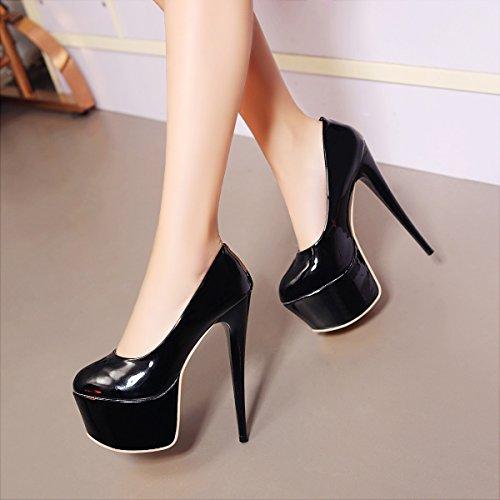 YE Damen Extreme High Heels Lackleder Stilettos Geschlossen Pumps mit Plateau 16cm Absatz Paty Schuhe Schwarz