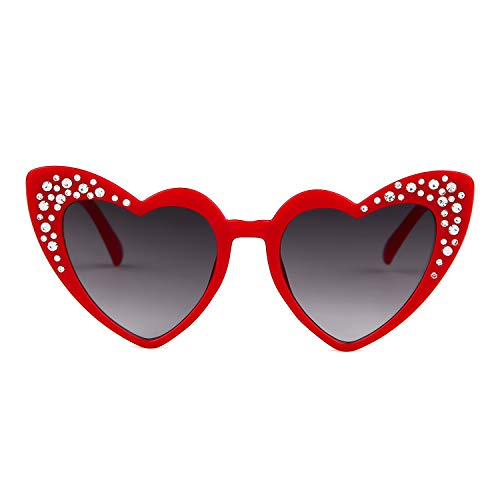 Love Heart Shaped Sunglasses Women Vintage Christmas Giftv For Girls (red, gray) by ADEWU (Image #4)