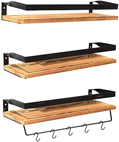 Creativefine Floating Shelves Wall Mounted Set of 3, Rustic Solid Wood Wall Shelf for Bedroom, Living Room, Kitchen Pine