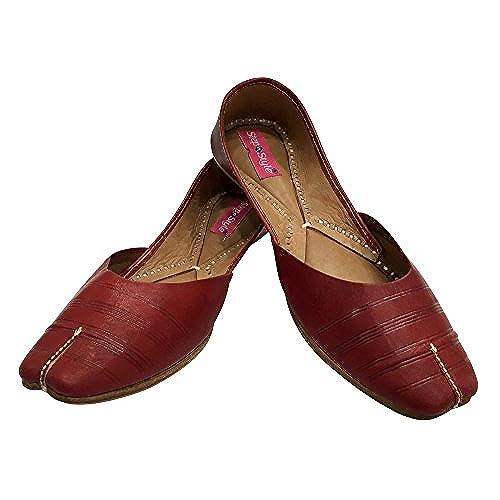 Step n Style New Women Pure Leather Punjabi Jutti Ballet Flats Khussa Shoes Mojari 50%OFF