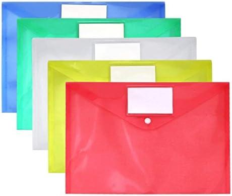 Colori Assortiti Blu Rosso Verde Giallo Bianco Impermeabile File Trasparente Busta Bella Scelta 15 pc Naisicatar Cancella documento Folder A4 Size con Bottone Automatico e Pocket Tag