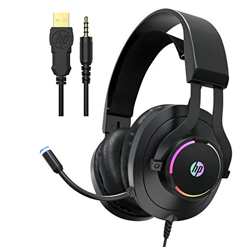 HP Gaming Xbox One Headset with Mic, Gaming Headphones for PS4, PC, Laptop, Nintendo Switch with Noise Cancelling Microphone, Wired Over Ear Head Set with LED Lights