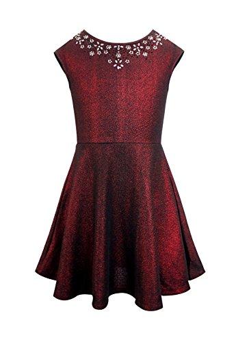 Hannah Banana Big Girl Tween Shimmer Dress w/Dazzling Rhinestones (Many Options) 7-16 (12, Burgundy (Fancy Dress Banana)