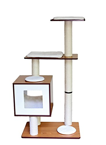 Pet Hup Hup Cat Trees By Cat Towers With Roped Scratching Posts, Soft Cushions, Cube Cave & Hanging Ball Toy – Pet Play House Condo Cat Furniture For Pet Kitty To Play and Rest (4 Level) by Pet Hup Hup