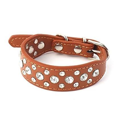 eDealMax Hebilla de Metal de imitación de Cuero Collar de perro Artificial del Rhinestone decoración de