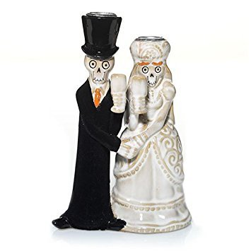Bride And Groom Halloween Taper Candle Holder -